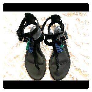 Ugg Black Leather Sandals 8